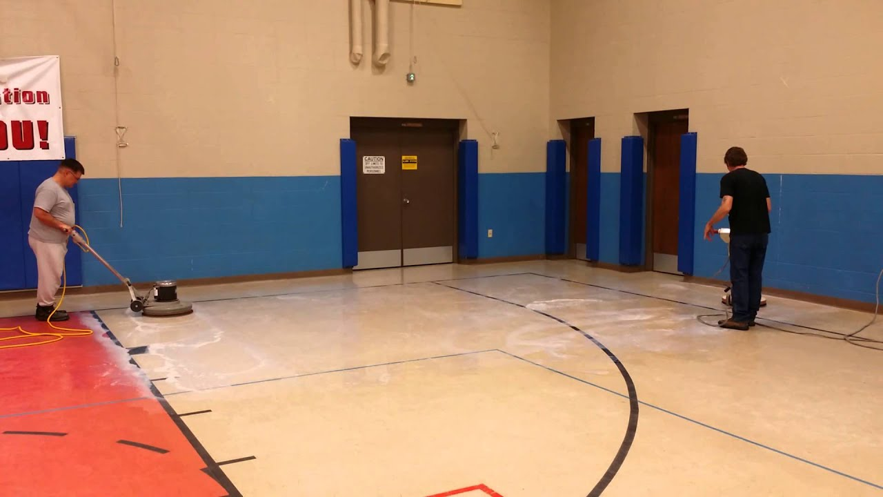 Professional stripping and waxing a basketball gym youtube for How to build a basketball gym