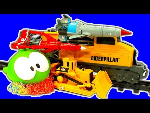 CAT Construction Train Set Thunderbirds Rescue Trains & Silly String Fight