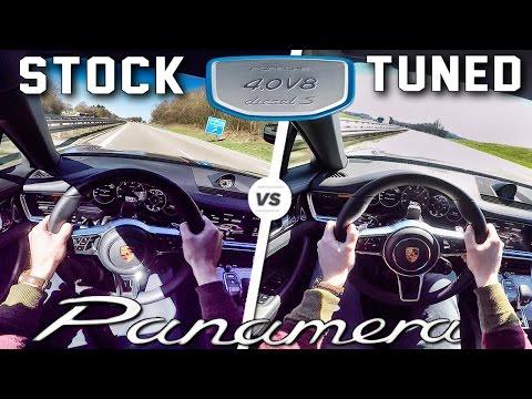 Porsche Panamera 4S Diesel STOCK vs RACECHIP 0-250 km/h ACCELERATION & AUTOBAHN POV by AutoTopNL