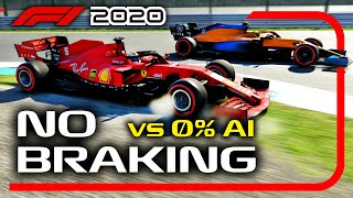 Can You Beat 0% AI WITHOUT BRAKING on the F1 2020 Game?!
