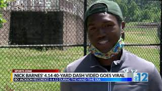 Nick Barnes 4.14 40 yard dash video goes viral