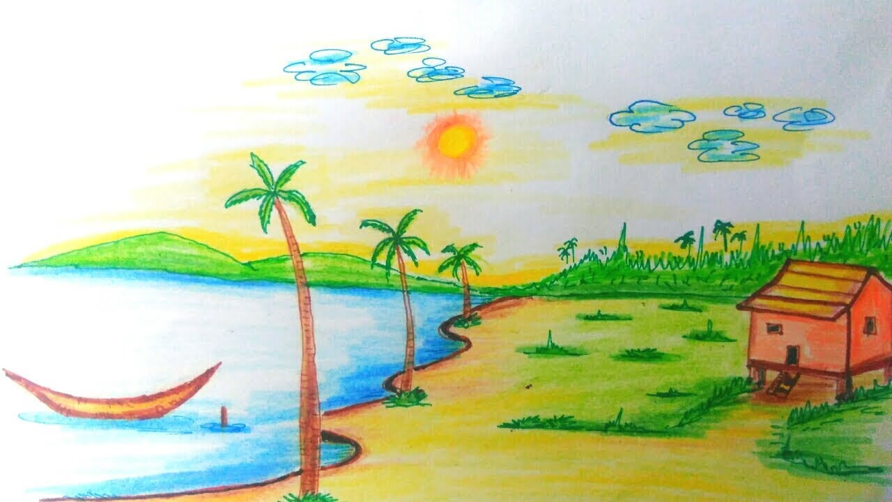 Scenery Drawing Of Nature