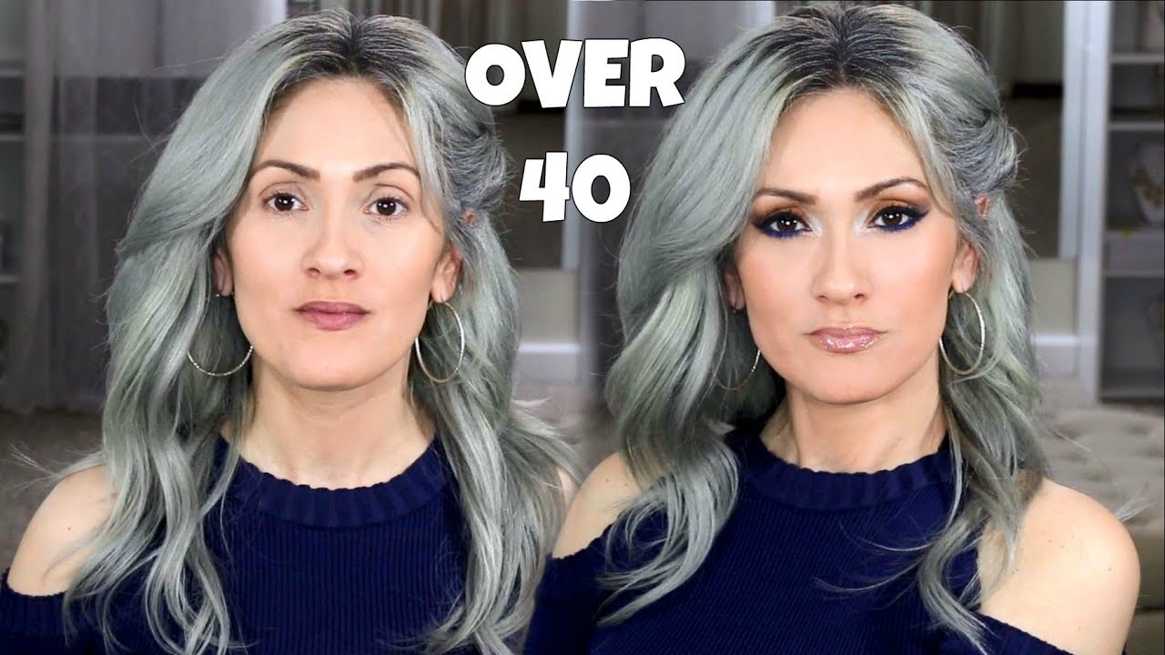 Cool makeup for brown eyes and gray hair