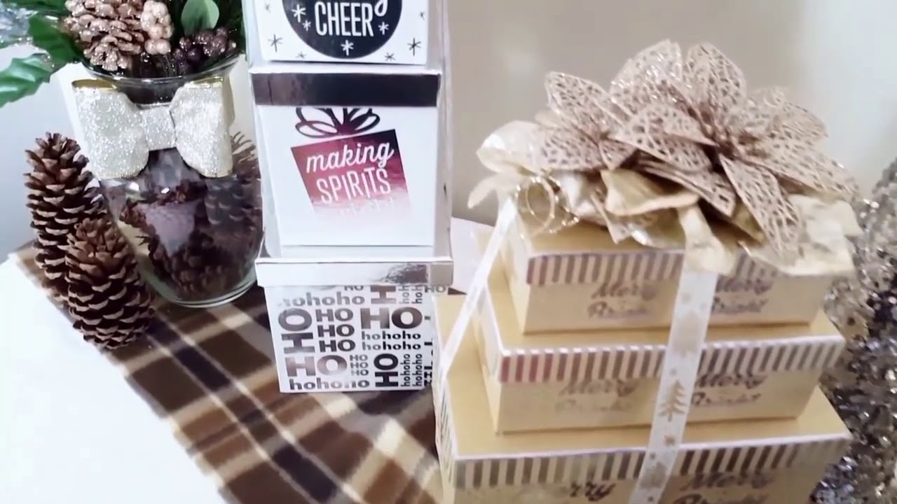 DIY Christmas Decor Gift Boxes ~ DOLLAR STORE DIY ~ Silver, White, \u0026  Champagne Gold