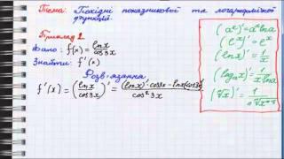 Похідні показникової та логарифмічної функцій