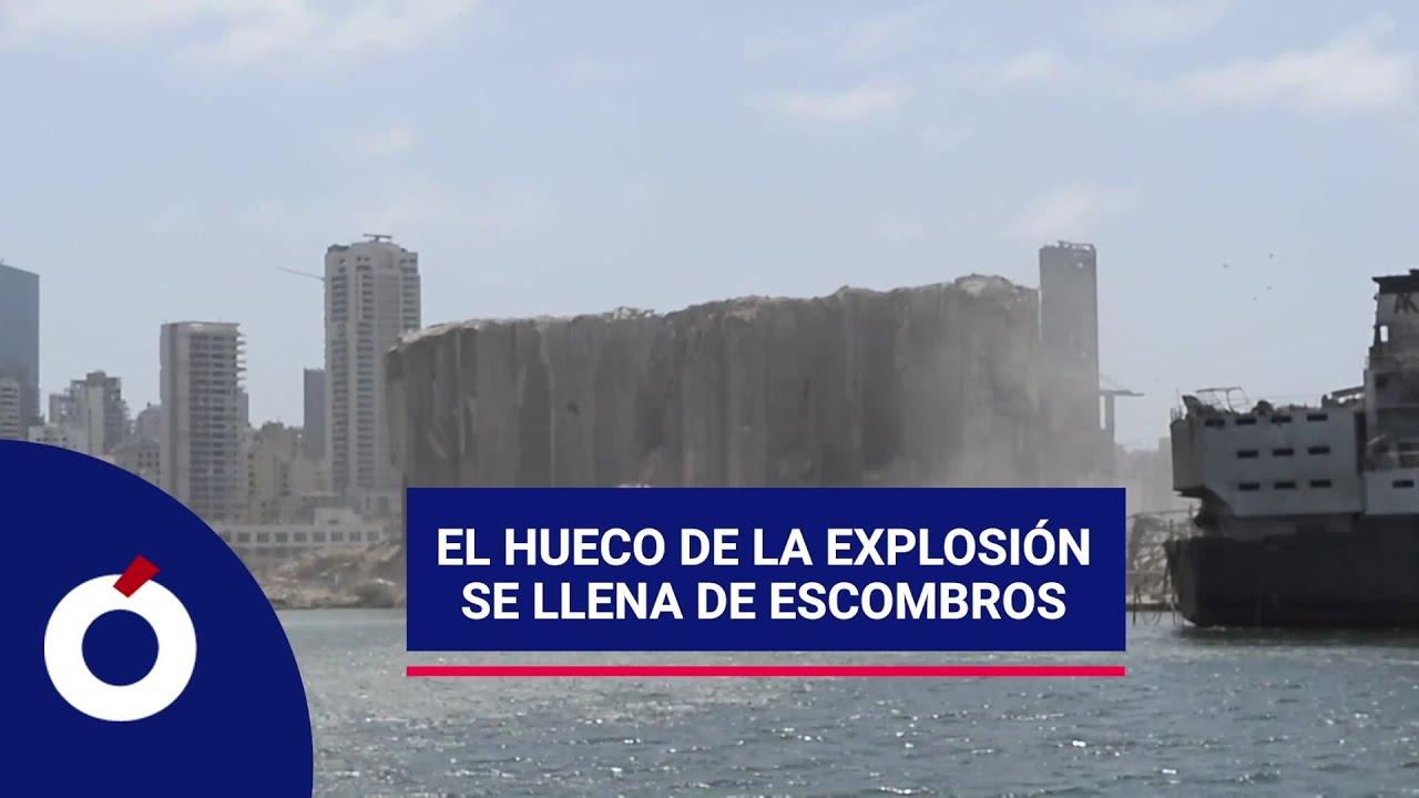 El mar llena el hueco de la explosión en Beirut