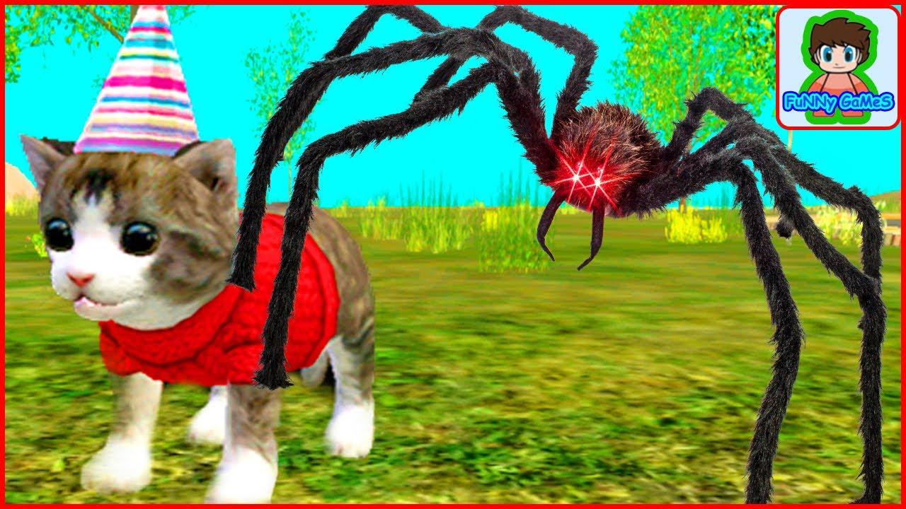 Кот и пауки мультик