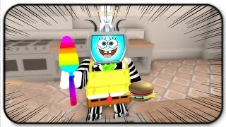 Becoming Spongebob And Cooking Krabby Patties In Roblox Cooking Simulator (really silly)