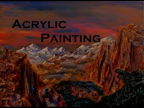 Acrylic Painting – Landscape scene with mountains and cliffs