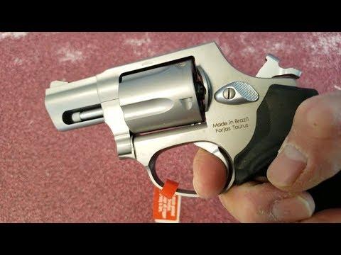 Taurus Model 605 stainless  357 magnum 5-shot snub nose revolver, up close