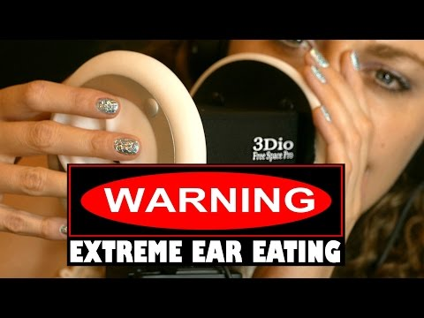 Warning! Ear Eating & Intense Wet Mouth Sounds ASMR No talking w/ Light Ear Massage & Tapping