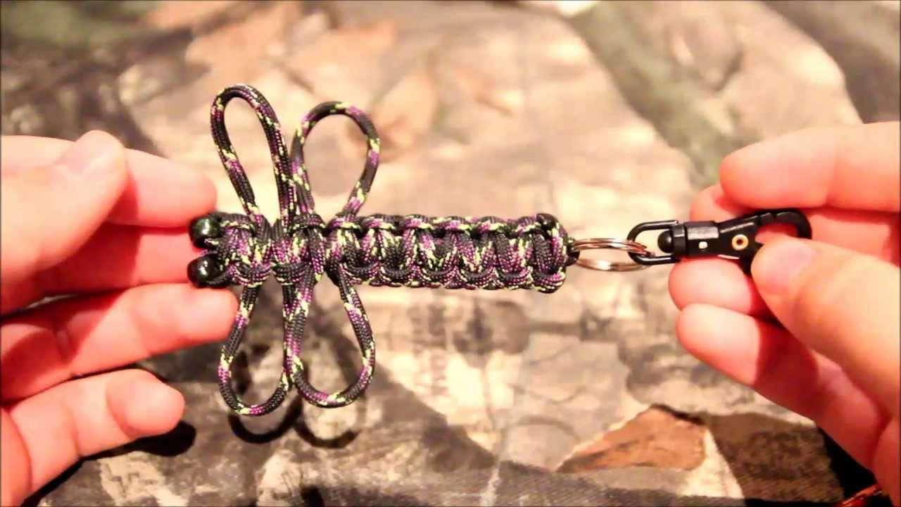 Paracord dragonfly keychain tutorial youtube for How to make a keychain out of paracord