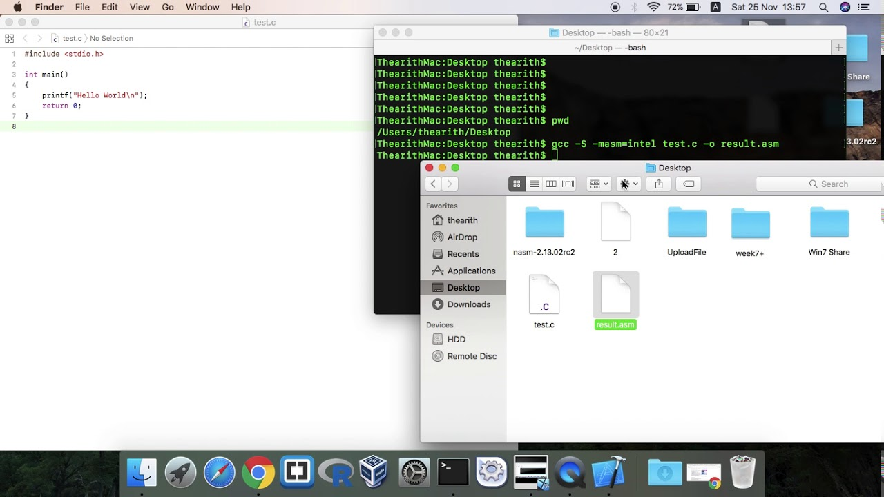 How to convert c to asm in Mac and Windows