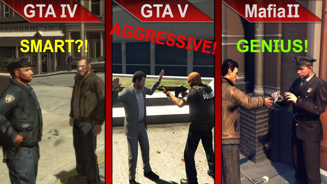 COPS LOGIC COMPARISON 2 | GTA IV vs. GTA V vs. Mafia II | PC | ULTRA