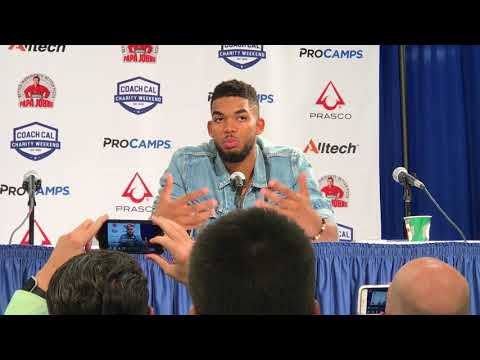 Karl-Anthony Towns and Rex Chapman speak to the media following UK Alumni Game