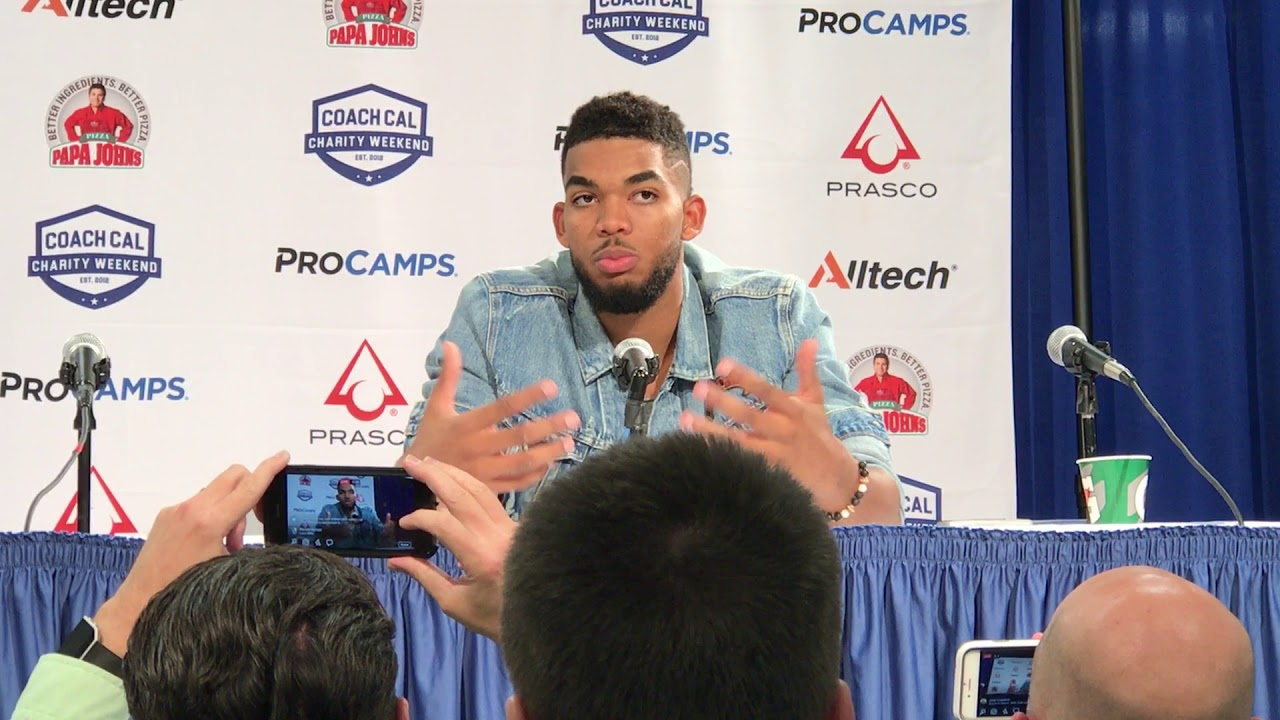 Karl Anthony Towns and Rex Chapman speak to the media following UK
