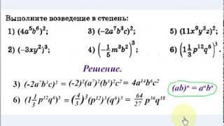 #46 Урок 7. Одночлены. Возведение одночлена в степень.  Алгебра 7 класс.