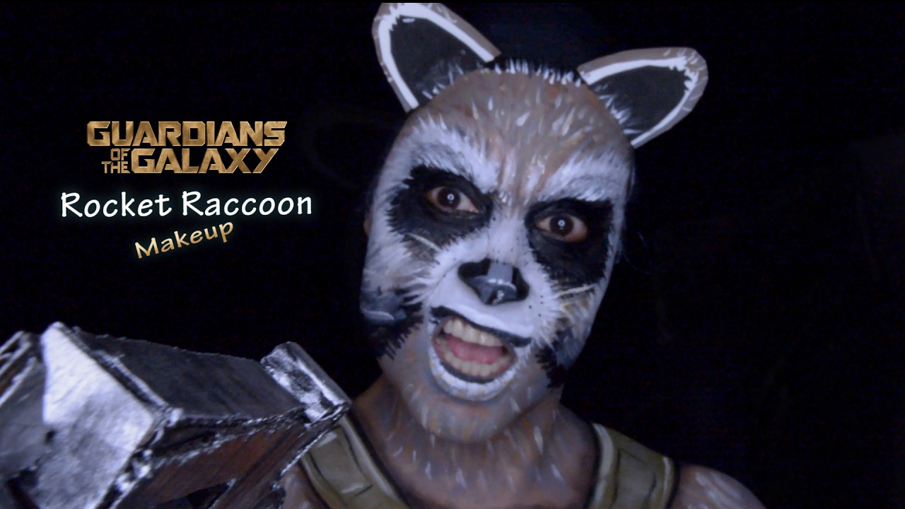 Guardians Of The Galaxy Rocket Raccoon Makeup Tutorial Youtube