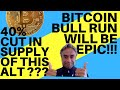 THE NEXT BITCOIN BULL RUN WILL BE EPIC!! + 40% CUT IN SUPPLY OF THIS ALTCOIN!!