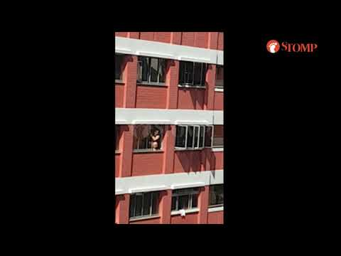 Woman squatting down on ledge to clean windows at Toh Yi Dr is accident waiting to happen