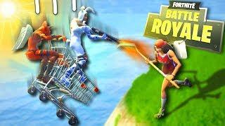 The BEST shopping cart TRICK! No fall damage bug! - Fortnite Battle Royale