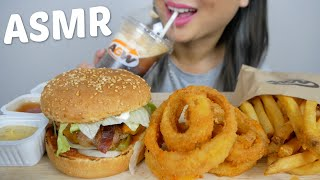 ASMR A&W Teen Burger, Onion Rings, Root Beer Float * Relaxing Eating Sounds Mukbang | N.E Let's Eat