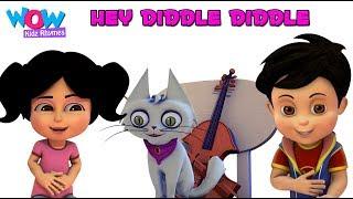 Hey Diddle Diddle | Nursery Rhyme with Lyrics | Vir | Wow Kidz Rhymes thumbnail