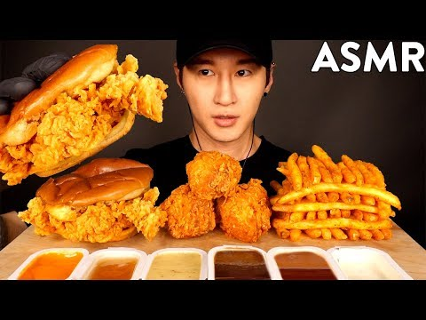 ASMR POPEYES CHICKEN SANDWICH, FRIED CHICKEN & FRIES MUKBANG (No Talking) EATING SOUNDS