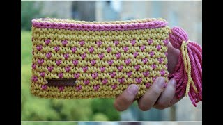 d2d56c047c4e0 كروشية شنطة دائرية بخيط الكليم بناتى سهلة  crochet a round bag يوسى ...
