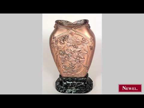 Antique French Victorian bronze vase with birds and floral