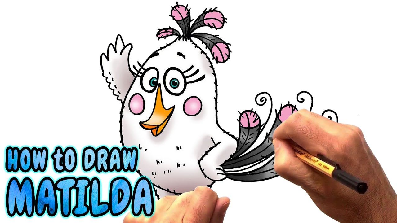 Drawing Angry Birds Movie: How To Draw Matilda From The Angry Birds Movie (NARRATED