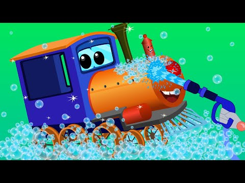 train car wash | car cartoons for children | kids video