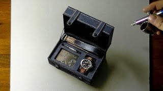 3D Drawing of Limited Edition AVI-8 watch in its box