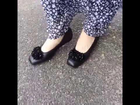 パンプス コサージュ 花 本革 日本製 カジュアル 外反母趾 本革 軽量底 黒 疲れない靴 痛くない靴 歩きやすい