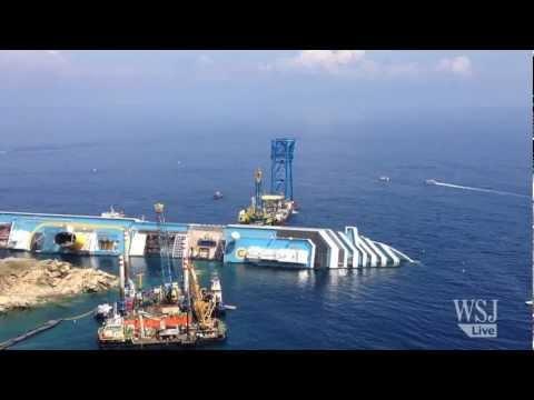 Costa Concordia Wreck Submerged off Coast of Giglio Island