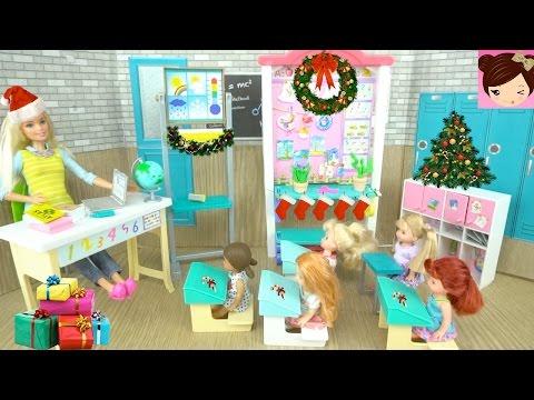 Frozen Elsa Anna Toddlers Decorate for Christmas with Barbie Teacher - Baby Ariel, Rapunzel Dolls