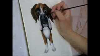 Malerei ein Boxer-Hund cartoon in Acryl