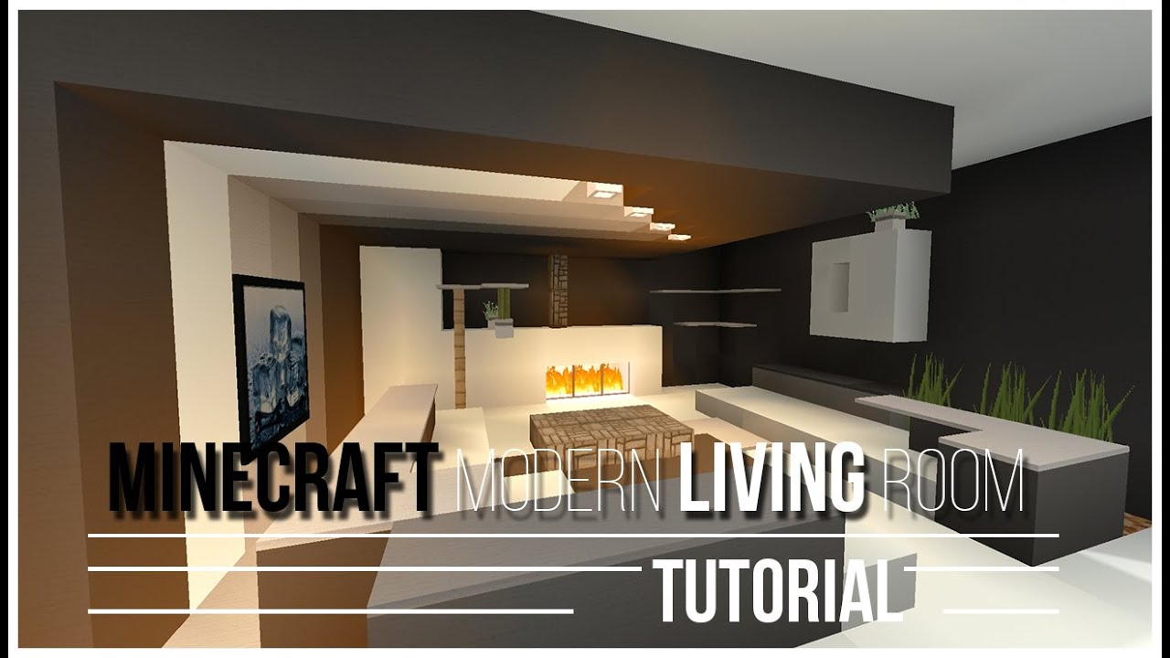 minecraft how to build a modern living room tutorial 2