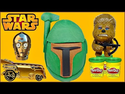 STAR WARS Boba Fett Play Doh Surprise Egg + Star Wars Puzzle Erasers & Star Wars Vehicles Unboxing