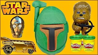 star wars boba fett play doh surprise egg star wars puzzle erasers star wars vehicles unboxing