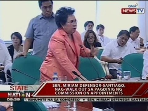 SONA: Sen. Miriam Santiago, nag-walk out sa pagdinig ng Commission on Appointments