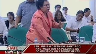 SONA: Sen. Miriam Santiago, nag-walk out sa pagdinig ng Commission on Appointments