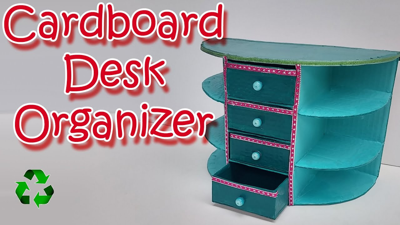 How to make a cardboard desk organizer ana diy crafts for Useful things to make out of paper