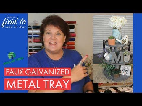 Faux Galvanized Metal Tray | Dollar Tree DIY 💰🌳