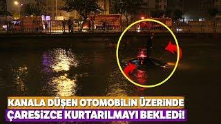 Adana'da Trafik Kazası! 2 Otomobil Çarpıştı, 1'i Su Kanalına Düştü