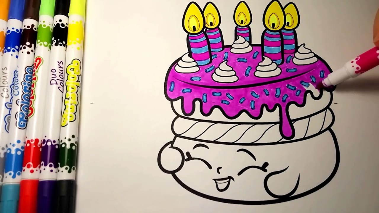 Shopkins Birthday Wishes Cake Coloring