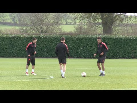 Arsenal train ahead of AC Milan clash