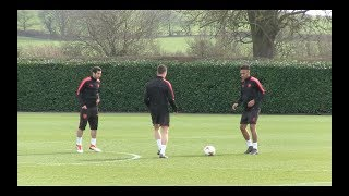 Arsenal train ahead of AC Milan clash