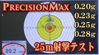 PRECISION MAX バイオBB弾 25m射撃テスト 電子ターゲット