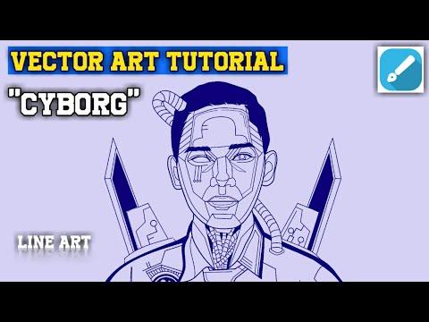 "VECTOR ART TUTORIAL ""CYBORG"" || LINE ART || INFINITE DESIGN thumbnail"